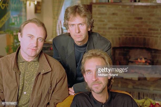 English rock group Genesis UK 1993 Left to right singer and drummer Phil Collins keyboard player Tony Banks and bassist Mike Rutherford