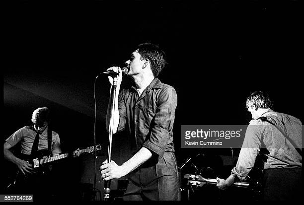 English rock group Joy Division performing at the Russell Club also known as The Factory Manchester 1979 Left to right guitarist Bernard Sumner...