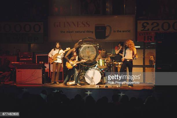 English rock group Led Zeppelin perform live on stage at the National Stadium in Dublin Ireland on the 2nd leg of their spring 1971 tour of the...