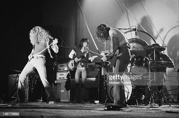 English rock group Led Zeppelin performing at the Empire Pool Wembley London 23rd November 1971 Left to right Robert Plant John Paul Jones Jimmy Page...