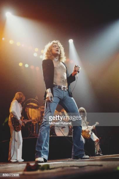 English rock group Led Zeppelin performing on stage at Madison Square Garden, New York, June 1977. Left to right: John Paul Jones, Robert Plant, John...