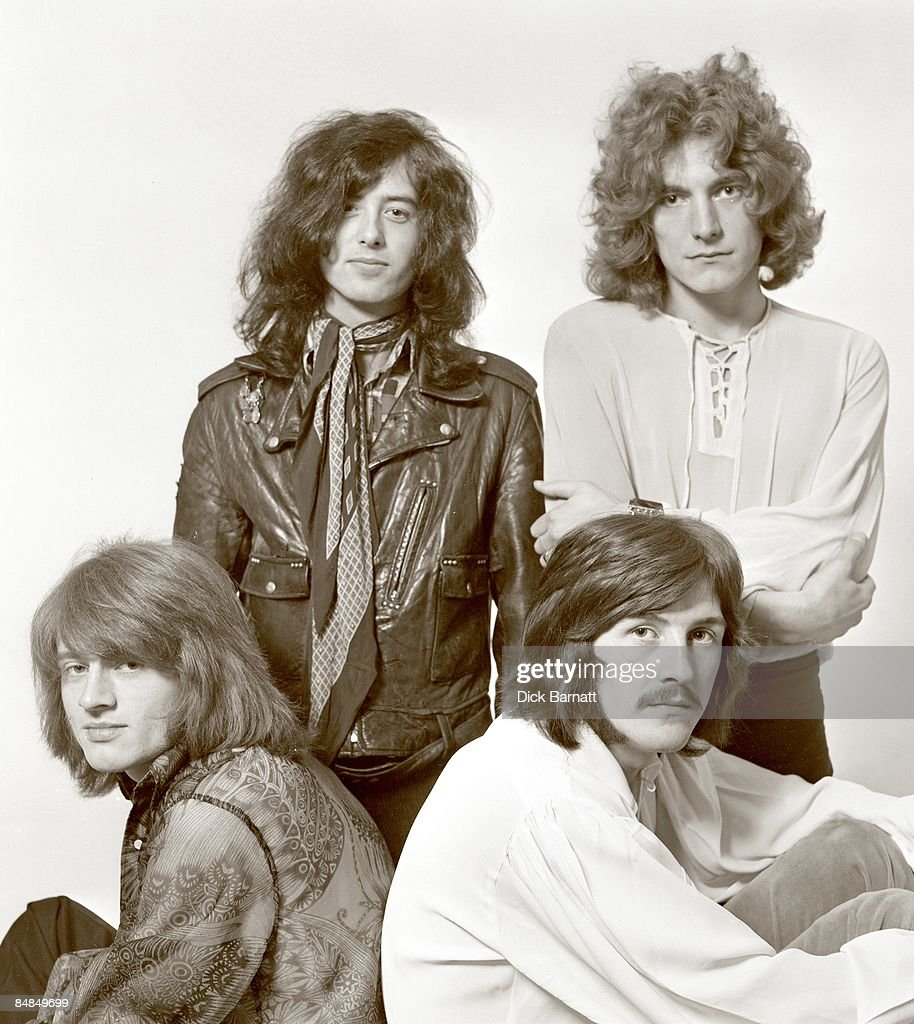 Photo of LED ZEPPELIN posed in London in December 1968. Back: Jimmy Page and Robert Plant. Front: John Paul Jones and John Bonham.