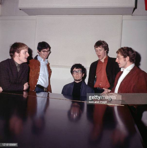 English rock group Manfred Mann in the studio guitar player Mike Vickers bass player Tom McGuinness keyboardist Manfred Mann singer Paul Jones and...