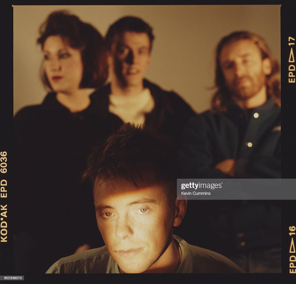 English rock group New Order, 1st November 1985. Clockwise, from front: singer and guitarist Bernard Sumner, keyboard player Gillian Gilbert, drummer Stephen Morris and bassist Peter Hook.