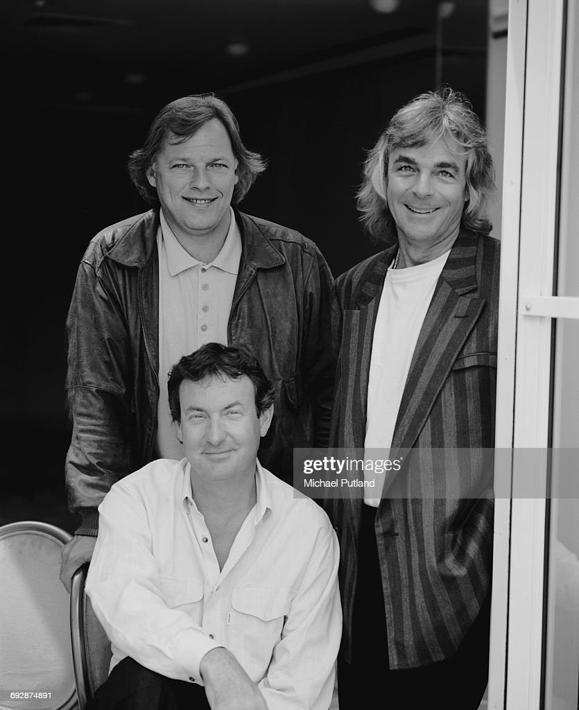 English rock group Pink Floyd in New York, May 1988. Clockwise, from top left: guitarist Dave Gilmour, keyboard player Richard Wright (1943 - 2008) and drummer Nick Mason.