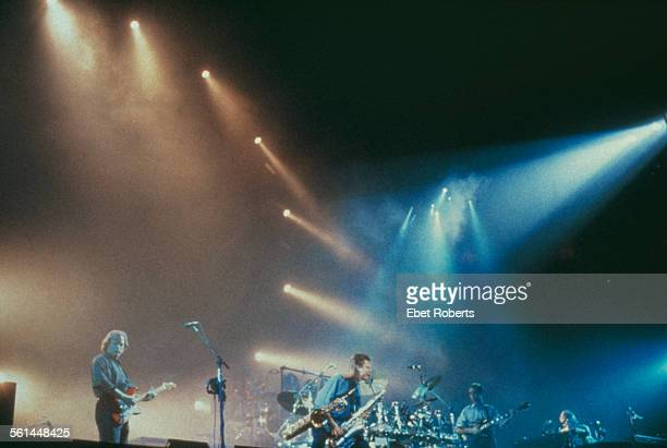 English rock group Pink Floyd performing on the A Momentary Lapse of Reason Tour 1987 Guitarist David Gilmour is at far left