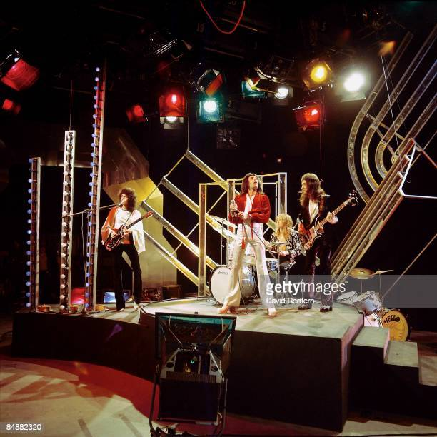 POPS Photo of QUEEN LR Brian May Freddie Mercury Roger Taylor and John Deacon performing on tv show