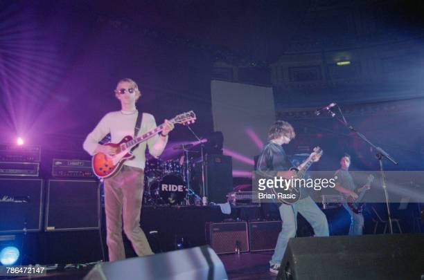 English rock group Ride perform live on stage at the Royal Albert Hall in London on 21st September 1994 The band are from left to right guitarist...