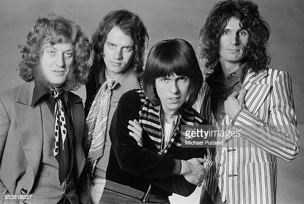 English rock group Slade 17th February 1975 Left to right singer Noddy Holder bassist Jim Lea guitarist Dave Hill and drummer Don Powell