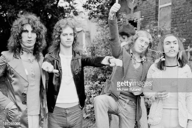 English rock group Slade in Bardney Lincolnshire for the Great Western Express Lincoln Festival 29th May 1972 Left to right drummer Don Powell...
