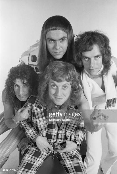 English rock group Slade London 1974 Clockwise from front singer Noddy Holder drummer Don Powell guitarist Dave Hill and bassist Jim Lea