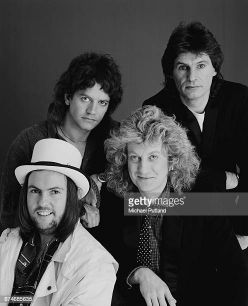 English rock group Slade London November 1985 Left to right guitarist Dave Hill bassist Jim Lea singer Noddy Holder and drummer Don Powell