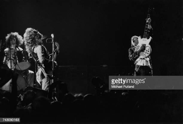 English rock group Slade performing on one of their two nights at the New Victoria Theatre London 25th26th April 1975 Left to right Don Powell Noddy...