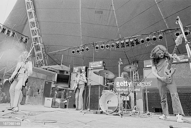 English rock group Status Quo performing at the Great Western Express Lincoln Festival, Bardney, Lincolnshire, 29th May 1972. Left to right: Rick...