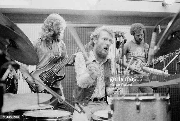 English rock group the Baker Gurvitz Army in a studio, August 1974. Left to right: Paul Gurvitz, Ginger Baker and Adrian Gurvitz.