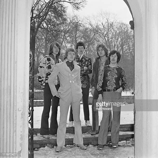 English rock group The Band of Joy in the grounds of Holland Park School Kensington London circa January 1968 Left to right organist Chris Brown...