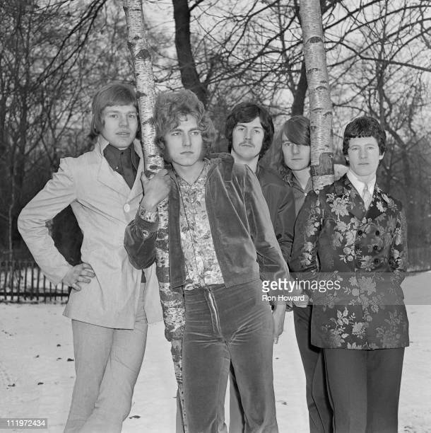 English rock group The Band of Joy in the grounds of Holland Park School Kensington London circa January 1968 Left to right guitarist Kevyn Gammond...