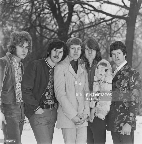 English rock group The Band of Joy in the grounds of Holland Park School Kensington London circa January 1968 Left to right lead singer Robert Plant...