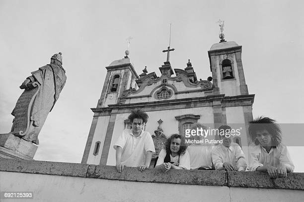 English rock group The Cure in Brazil during their 1987 tour 30th March 1987 Left to right singer Robert Smith guitarist Porl Thompson drummer Boris...