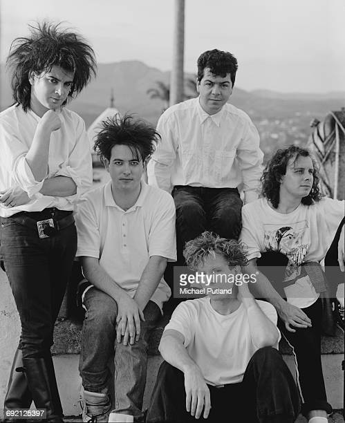 English rock group The Cure in Brazil during their 1987 tour 30th March 1987 Clockwise from left bassist Simon Gallup singer Robert Smith keyboard...