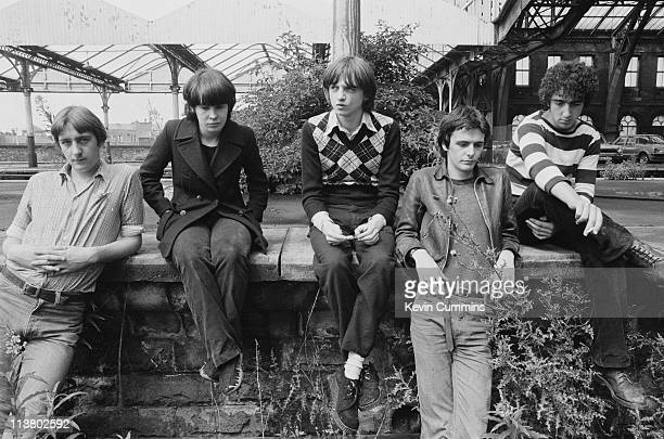 English rock group The Fall at Manchester Central railway station 1978 Left to right bassist Marc Riley keyboard player Yvonne Pawlett singer and...