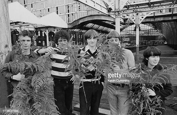 English rock group The Fall at Manchester Central railway station 1978 Left to right guitarist Martin Bramah drummer Karl Burns singer and lyricist...