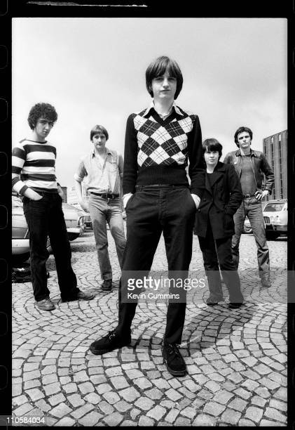 English rock group The Fall Manchester 1978 Left to right drummer Karl Burns bassist Marc Riley singer and lyricist Mark E Smith keyboardist Yvonne...