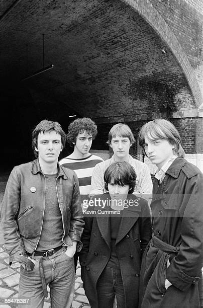 English rock group The Fall Manchester 1978 Left to right guitarist Martin Bramah drummer Karl Burns bassist Marc Riley keyboardist Yvonne Pawlett...