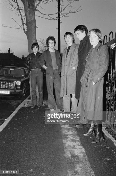 English rock group The Fall Manchester 21st December 1977 Left to right bassist Tony Friel drummer Karl Burns singer and lyricist Mark E Smith...