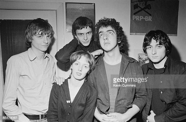 English rock group The Fall Manchester 21st December 1977 Left to right singer and lyricist Mark E Smith keyboardist Una Baines guitarist Martin...