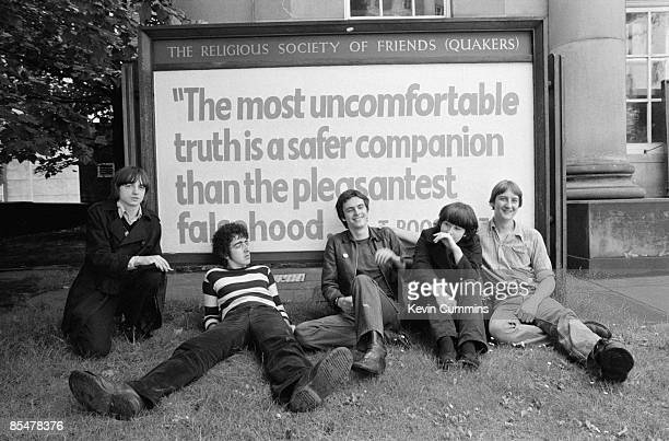 English rock group The Fall outside a Quaker Meeting house Manchester 1978 Left to right singer and lyricist Mark E Smith drummer Karl Burns...