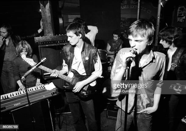 English rock group The Fall performing at The Ranch Manchester's first punk club 18th August 1977 Left to right Una Baines Martin Bramah Karl Burns...