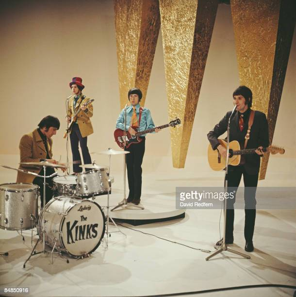 English rock group The Kinks, from left, Mick Avory, Dave Davies , Pete Quaife and Ray Davies, perform on the music television show Top Of The Pops...