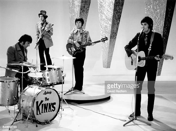 English rock group The Kinks, from left, Mick Avory, Dave Davies , Pete Quaife and Ray Davies, perform the song 'Waterloo Sunset' on the music...