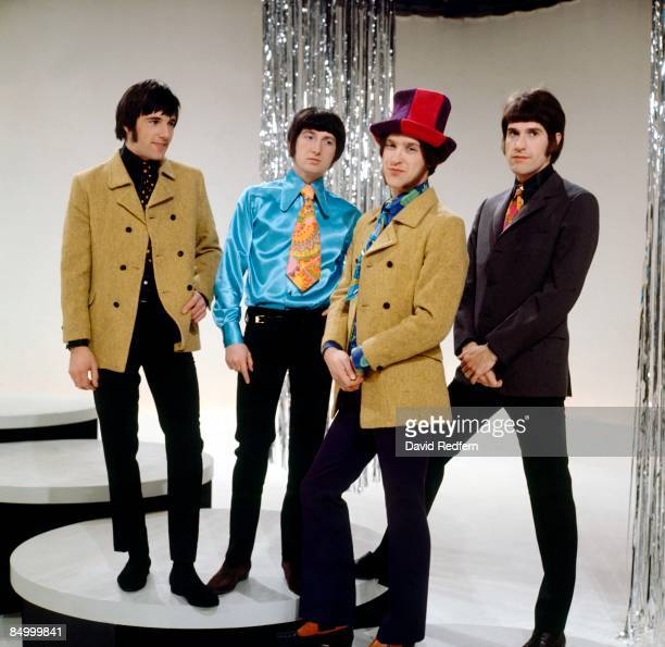 English rock group The Kinks, from left, Mick Avory, Pete Quaife, Dave Davies and Ray Davies, posed together during an appearance on the music...