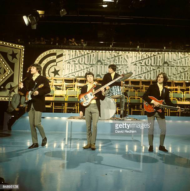 English rock group The Kinks, from left, Ray Davies, Pete Quaife, Mick Avory and Dave Davies perform on the pop music television show Thank Your...