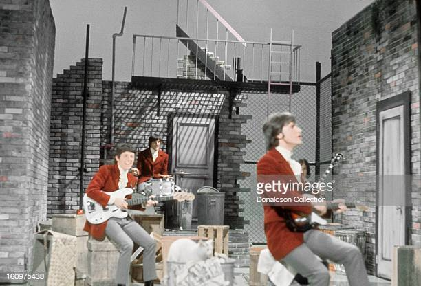 English rock group The Kinks perform on the NBC TV music show 'Hullabaloo' in February 1965 in New York City New York
