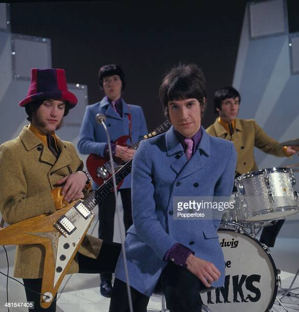 English rock group The Kinks perform on the television series 'The Morecambe and Wise Show' in 1968. Left to right: Dave Davies, Pete Quaife, Ray...