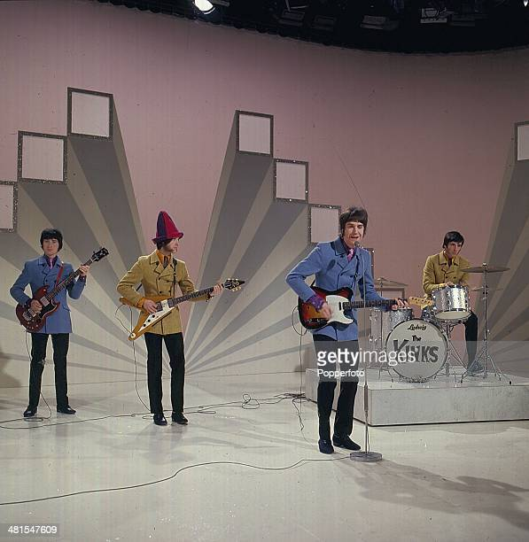 1968 English rock group The Kinks perform on the television series 'The Morecambe and Wise Show' in 1968 Left to right Pete Quaife Dave Davies Ray...
