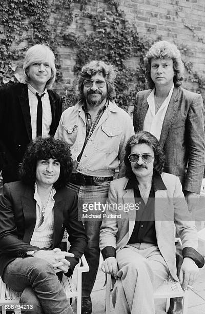English rock group The Moody Blues 1981 Back left to right singer Justin Hayward drummer Graeme Edge and bassist John Lodge Front keyboard player...