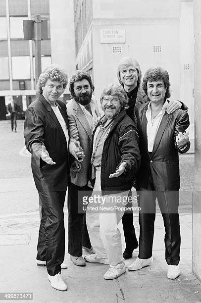 English rock group The Moody Blues posed in London on 11th October 1984 Left to right John Lodge Ray Thomas Graeme Edge Justin Hayward and Patrick...