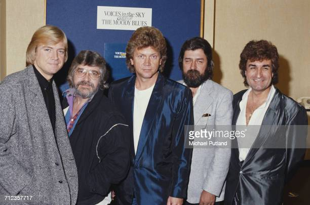 English rock group The Moody Blues posed in London on 11th October 1984 Left to right Justin Hayward Graeme Edge John Lodge Ray Thomas and Patrick...