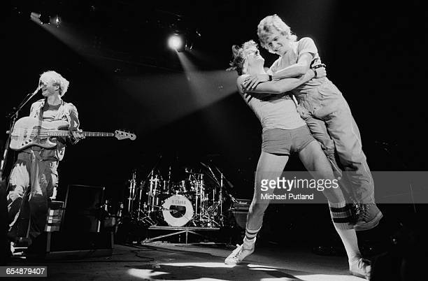 English rock group The Police performing in Philadelphia Pennsylvania during the band's Ghost In The Machine Tour 1981 Left to right Sting Stewart...