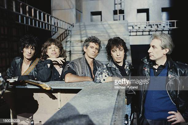 English rock group The Rolling Stones 1985 Left to right guitarist Ronnie Wood singer Mick Jagger guitarist Keith Richards drummer Charlie Watts and...