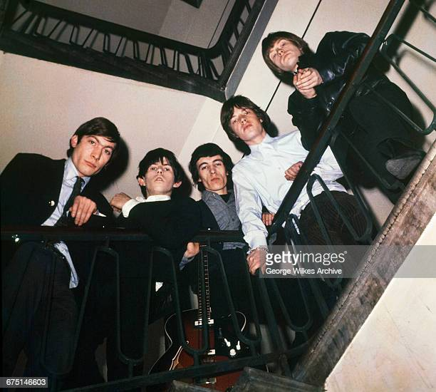 English rock group The Rolling Stones London 1st February 1965 Left to right drummer Charlie Watts guitarist Keith Richards bassist Bill Wyman singer...