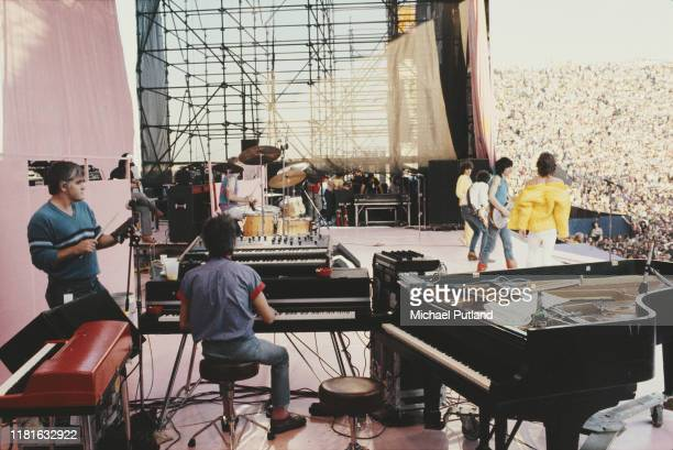 English rock group the Rolling Stones perform live on stage at the John F Kennedy Stadium in Philadelphia, United States on the first date of their...