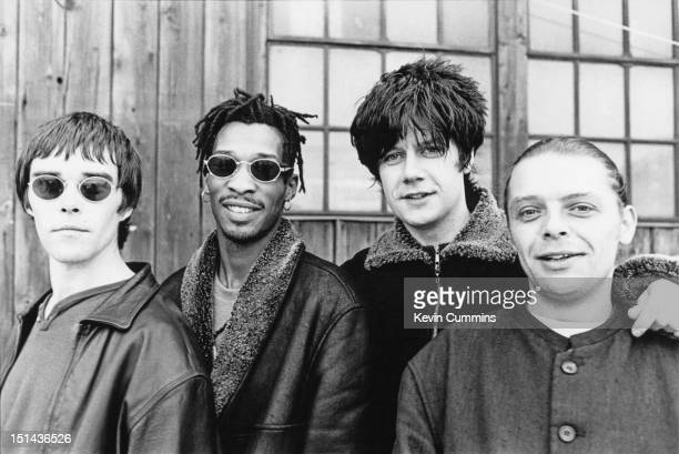 English rock group The Stone Roses circa 1995 Left to right singer Ian Brown drummer Robbie Maddix guitarist John Squire and bassist Gary 'Mani'...