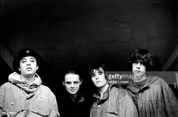 HILVERSUM NETHERLANDS English rock group The Stone Roses posed in Hilversum Netherlands in 1992 Left to right Alan 'Reni' Wren Gary 'Mani' Mounfield...