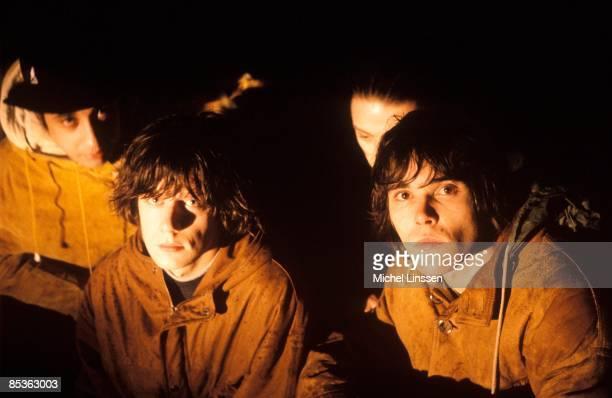 HILVERSUM NETHERLANDS English rock group The Stone Roses posed in Hilversum Netherlands in 1992 Left to right Alan 'Reni' Wren John Squire Gary...