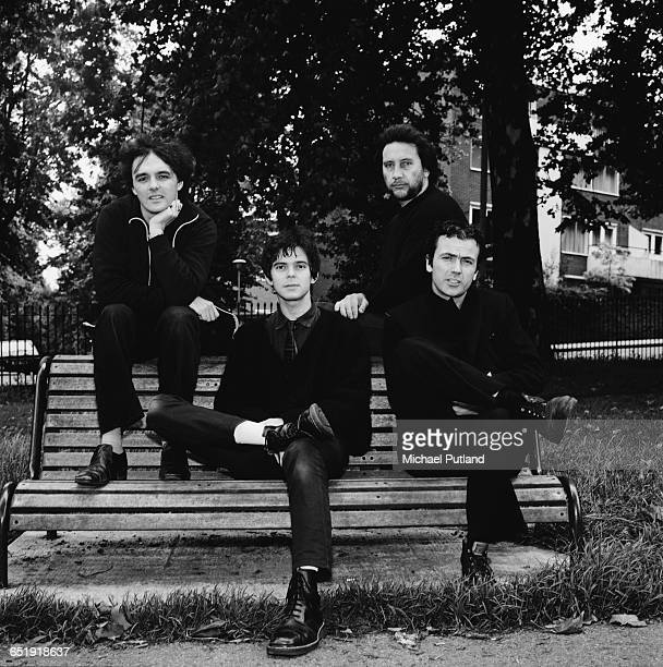 English rock group The Stranglers Primrose Hill London August 1980 Left to right singer and keyboard player Dave Greenfield bassist JeanJacques...